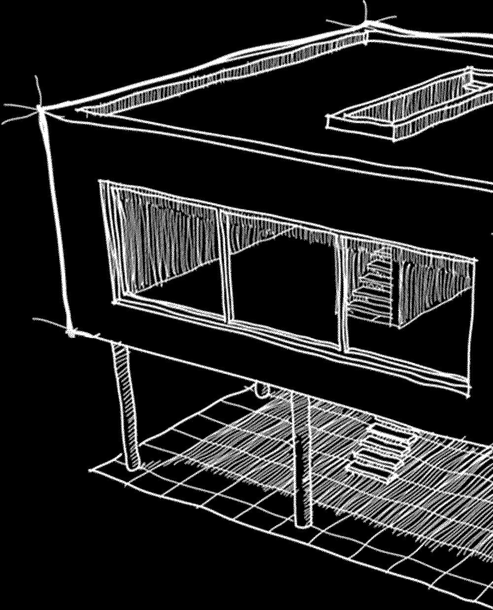 Zeichnung Haus mit Flachdach